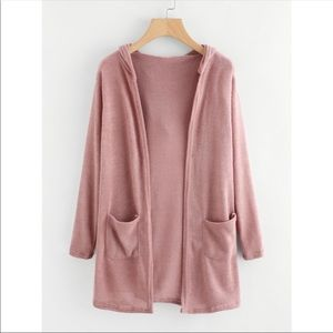 Sweaters - Hooded pink knit cardigan